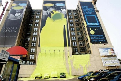 Рекламный баннер с краской
